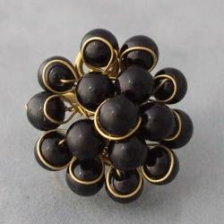 Brass and Black Onyx Front Cluster Ring (Thailand)
