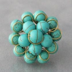 Brass and Reconstructed Turquoise Front Cluster Ring (Thailand)