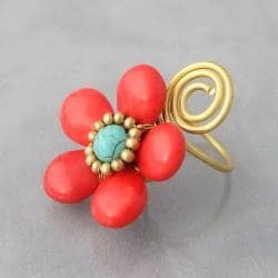 Brass Wire Red Coral and Turquoise Flower Wrap Ring (Thailand)
