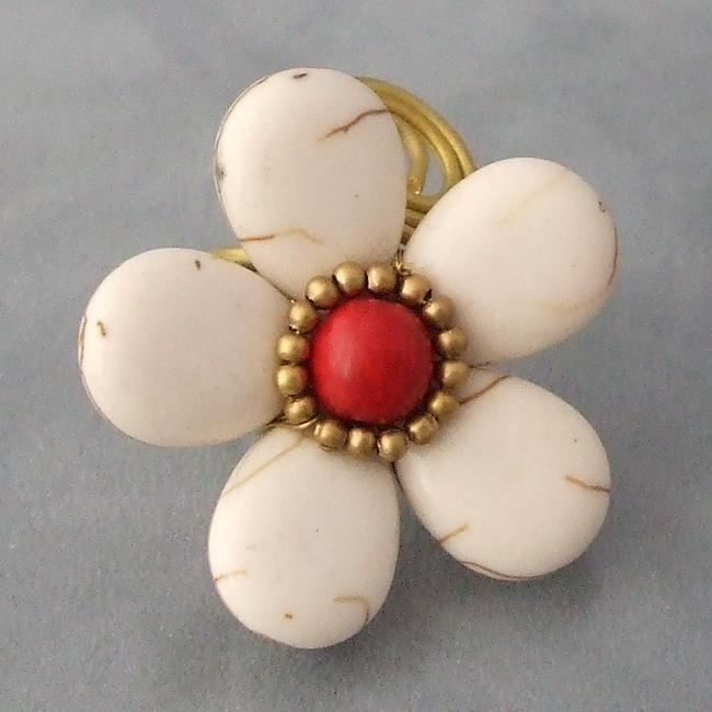 Brass Large White Turquoise/ Red Coral Flower Wrap Ring (Thailand)