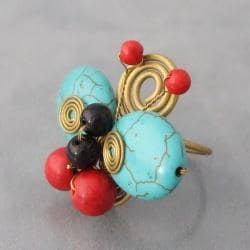 Brass Reconstructed Turquoise/Red Coral/Onyx Butterfly Ring (Thailand)