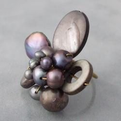 Brass Black Shell and Freshwater Pearl Wrap Ring (3-10 mm) (Thailand)