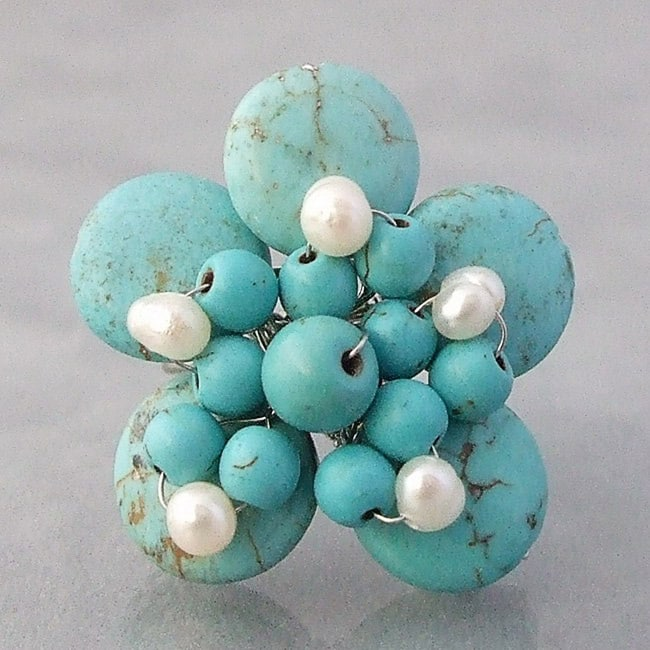 Base Metal Turquoise and Pearl Flower Wrap Ring (4-5 mm) (Thailand)