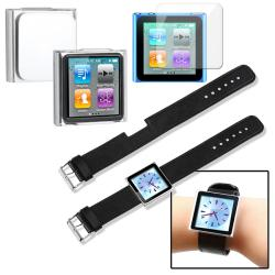 3-piece Case/ Screen Protector/ Wristband Combo for Apple iPod Nano 6