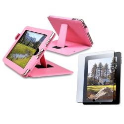 Pink Leather Case/ Screen Protector for Apple iPad