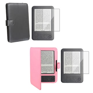 Leather Case/ Screen Protector for Amazon Kindle 3