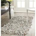 Safavieh Handmade Metro Grey/ White Leather Shag Runner (2'3 x 6')