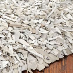 Safavieh Handmade Metro Grey/ White Leather Shag Rug (4' Round)