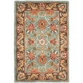 Handmade Heritage Blue/ Brown Wool Rug (2&#39; x 3&#39;)