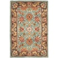 Handmade Heritage Blue/ Brown Wool Rug (2' x 3')