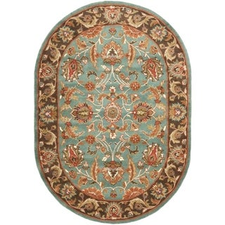 Handmade Heritage Blue/ Brown Wool Rug (4'6 x 6'6 Oval)