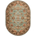 Handmade Heritage Blue/ Brown Wool Rug (7'6 x 9'6 Oval)