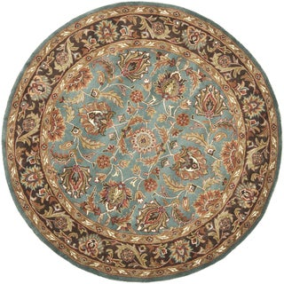 Handmade Heritage Blue/ Brown Wool Rug (6' Round)