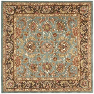 Safavieh Handmade Heritage Blue/Brown/Tan Floral Wool Rug (6' Square)