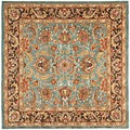 Handmade Heritage Blue/Brown/Tan Floral Wool Rug (6' Square)