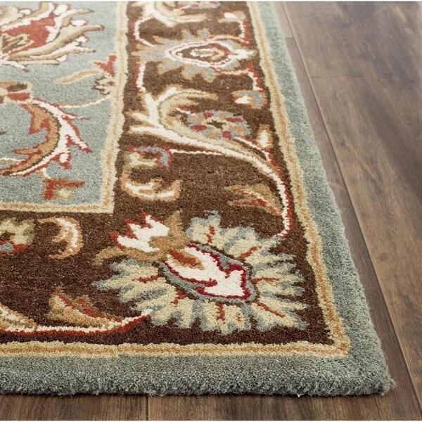 Safavieh Handmade Heritage Blue/Brown/Tan Floral Wool Rug (6' Square)