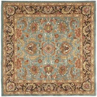 Handmade Heritage Blue/ Brown Wool Rug (8' Square)