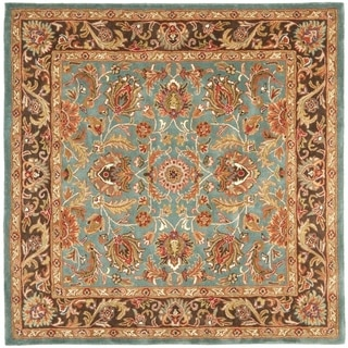 Handmade Heritage Blue/ Brown Wool Rug (8' Square)