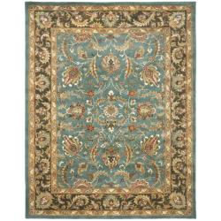 Handmade Heritage Blue/ Brown Wool Rug (12' x 15')