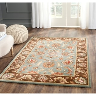 Handmade Heritage Blue/ Brown Wool Rug (6' x 9')