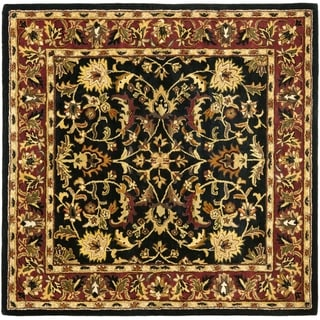Handmade Heritage Heirloom Black/ Red Wool Rug (6' Square)