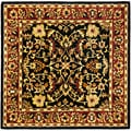 Safavieh Handmade Heritage Heirloom Black/ Red Wool Rug (6' Square)
