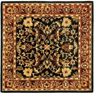 Handmade Heritage Heirloom Black/ Red Wool Rug (8' Square)