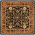 Safavieh Handmade Heritage Heirloom Black/ Red Wool Rug (8' Square)