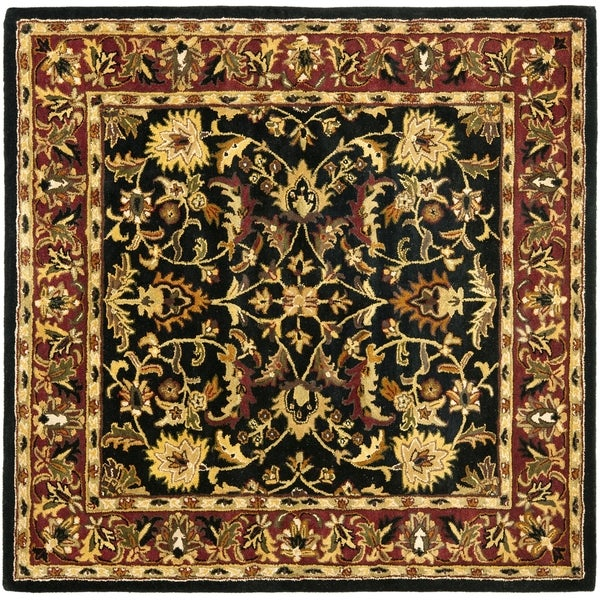 Safavieh Handmade Heritage Heirloom Black/ Red Wool Rug (8' Square)
