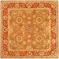 Safavieh Handmade Heritage Beige/ Rust Wool Rug (6' Square)