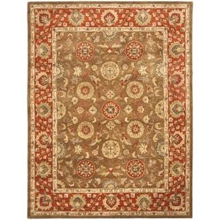 Handmade Heritage Beige/ Rust Wool Rug (7'6 x 9'6)