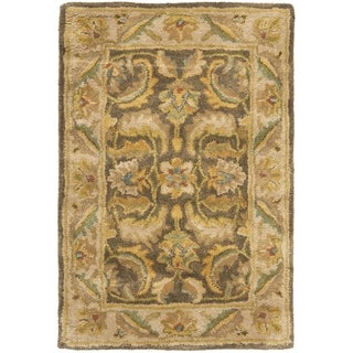 Handmade Heritage Green/ Beige Wool Rug (2' x 3')