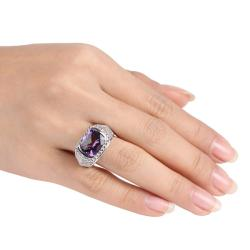 Miadora New York Gems Sterling Silver Amethyst Milligrain Ring