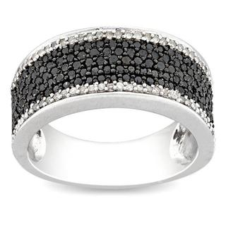 Miadora Sterling Silver 1ct TDW Black-and-white Pave Diamond Ring (H-I, I3)