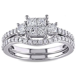 14k White Gold 1ct TDW Diamond Bridal Ring Set by Miadora Signature Collection