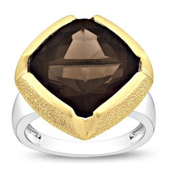 New York Gems Yellow Silver Cushion-cut Smokey Quartz Fashion Ring