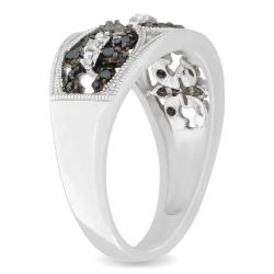 M by Miadora Silver 1/4 CT TDW Black and White Diamond Ring (H-I, I3)