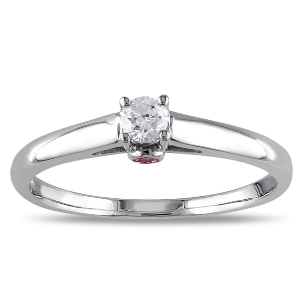 L'Amour Enrose by Miadora 10k White Gold Diamond Pink Sapphire Accent Ring (G-H, I2-I3)