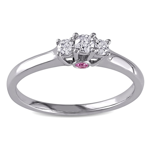 L'Amour Enrose by Miadora 10k White Gold 1/6ct TDW Diamond and Pink Sapphire Ring (G-H, I2-I3)