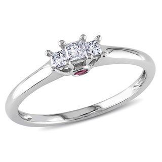L'Amour Enrose by Miadora 1/4 TDW 10k White Gold Diamond and Pink Sapphire Ring