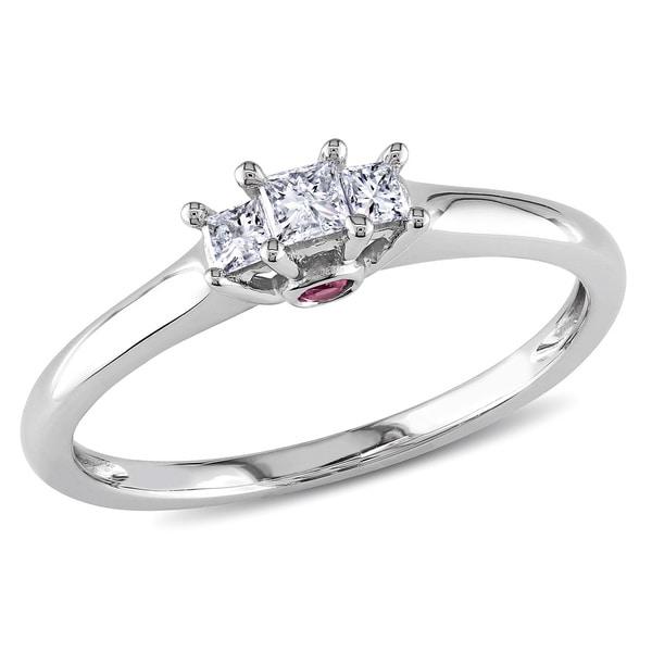 Miadora 1/4 TDW 10k White Gold Diamond and Pink Sapphire Ring