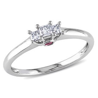 Miadora 10k White Gold Diamond and Pink Sapphire Ring