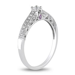 Miadora 10k White Gold Pink Sapphire and 1/6ct TDW Diamond Ring