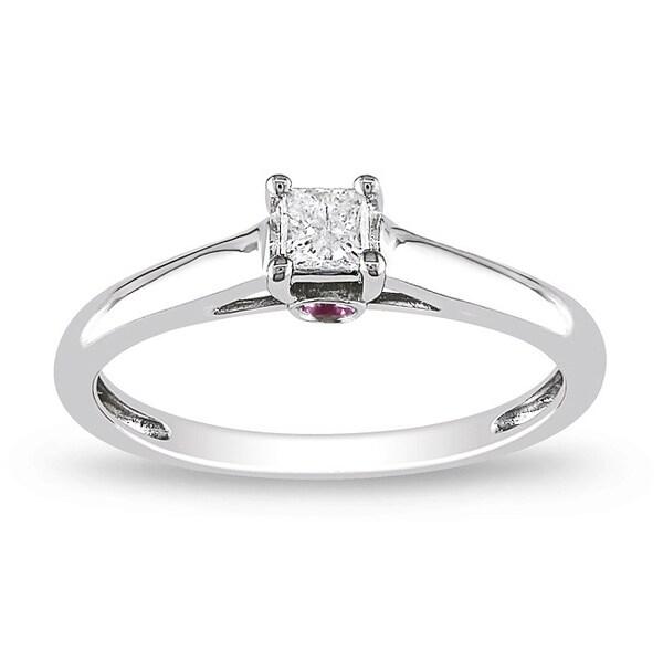 10k White Gold 1/6 ct TDW Diamond and Pink Sapphire Ring (G-H, I2-I3)