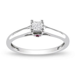 10k White Gold 1/6 ct TDW Diamond and Pink Sapphire Ring (G-H, I2-I3)