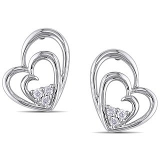 Haylee Jewels Sterling Silver 1/10ct TDW Diamond Heart Earrings (G-H, I2-I3)