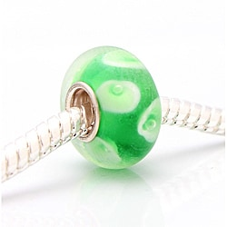 Murano-inspired Glass Green and White Charm Beads (Set of 2)