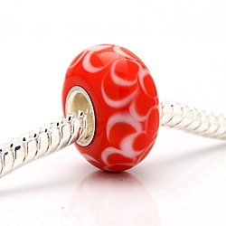Murano-inspired Glass Red and White Bubbles Charm Beads (Set of 2)