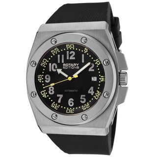 Rotary Men's 'Editions' Black Dial Black Rubber Strap Automatic Watch