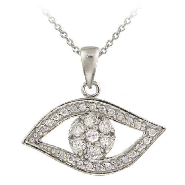Icz Stonez Sterling Silver Cubic Zirconia Evil Eye Necklace